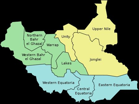 Map of the States of the Republic of South Sudan, established 9 July 2011